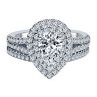 1 1/2 ct. tw. Diamond Halo Engagement Ring Set in 14K White Gold