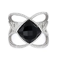 Onyx & 1/5 ct. tw. Diamond Ring in Sterling Silver