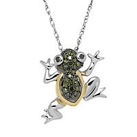 1/10 ct. tw. Green & Black Diamond Frog Pendant in Sterling Silver & 14K Yellow Gold
