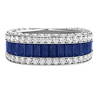 Helzberg Limited Edition® Blue Sapphire & 1 1/4 ct. tw. Diamond Anniversary Band in 14K White Gold