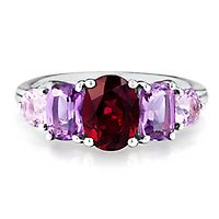 Brazilian Garnet & Amethyst Ring in Sterling Silver