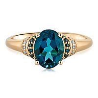 London Blue Topaz & 1/10 ct. tw. Blue & White Diamond Ring in 10K Yellow Gold