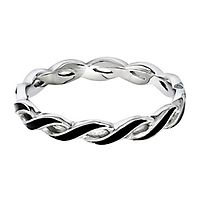 Black Enamel Twisted Stack Ring in Sterling Silver