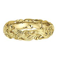 Carved Stack Ring in 14K Yellow Gold over Sterling Silver