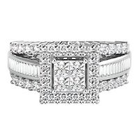 1 ct. tw. Multi-Diamond Square Shaped Center Engagement Ring in 14K White Gold