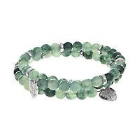 Jade Triple Wrap Bracelet in Rhodium over Brass