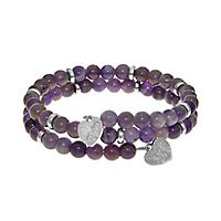 Amethyst Triple Wrap Bracelet in Rhodium over Brass
