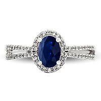 Sapphire & 1/4 ct. tw. Diamond Ring in 10K White Gold