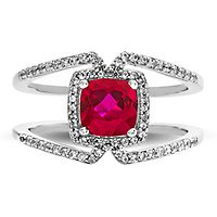 Lab-Created Ruby & White Sapphire Geometric Ring in Sterling Silver