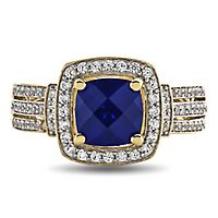 Lab-Created Blue & White Sapphire Ring in 10K Yellow Gold