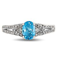 Blue Topaz & 1/4 ct. tw. Diamond Ring in 10K White Gold