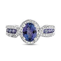 Tanzanite & 1/5 ct. tw. Diamond Ring in Sterling Silver