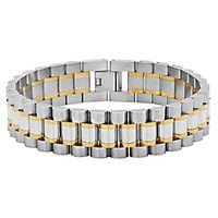 Men's Two-Tone Link Bracelet in Stainless Steel