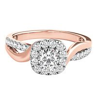 3/4 ct. tw. Diamond Halo Engagement Ring in 14K Rose & White Gold