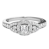 1/2 ct. tw. Diamond Three-Stone Engagement Ring in 10K White Gold