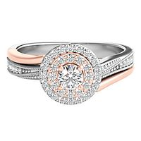 1/2 ct. tw. Diamond Halo Engagement Ring in 10K White & Rose Gold
