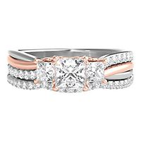 1 ct. tw. Diamond Three-Stone Engagement Ring Set in 14K White & Rose Gold