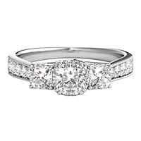 1 1/7 ct. tw. Diamond Three-Stone Ring in 14K White Gold