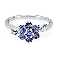 Tanzanite & Diamond Flower Ring in Sterling Silver