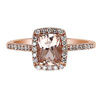 Morganite & 1/4 ct. tw. Diamond Ring in 14K Rose Gold