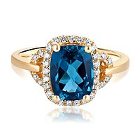 London Blue Topaz & 1/4 ct. tw. Diamond Ring in 10K Yellow Gold