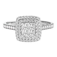 1/2 ct. tw. Multi-Diamond Square Shaped Center Engagement Ring in 14K White Gold