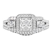 1 ct. tw. Multi-Diamond Square Shaped Center Engagement Ring Set in 14K White Gold