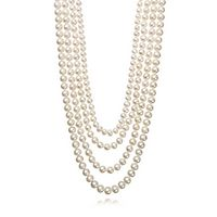 Freshwater Cultured Pearl Four-Strand Necklace in Sterling Silver, 6-8.5MM, 17-22.5
