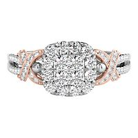 5/8 ct. tw. Multi-Diamond Cushion Shaped Center Engagement Ring in 14K White & Rose Gold