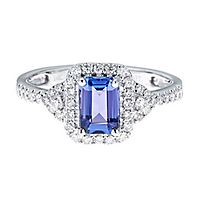Tanzanite & 3/8 ct. tw. Diamond Ring in 14K White Gold