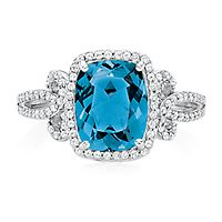 Helzberg Limited Edition® London Blue Topaz & 3/8 ct. tw. Diamond Ring in 10K White Gold