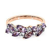 Rose de France Amethyst & White Sapphire Ring in 10K Rose Gold