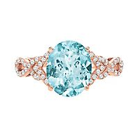 Aquamarine & 1/5 ct. tw. Diamond Ring in 14K Rose Gold
