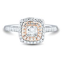 3/4 ct. tw. Diamond Halo Engagement Ring in 14K White & Rose Gold