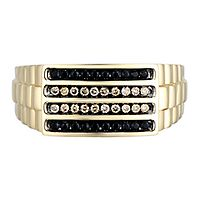 Men's 1/3 ct. tw. Champagne & Black Diamond Ring in 10K Yellow Gold, 10MM