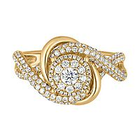 1 ct. tw. Diamond Knotted Swirl Ring in 14K Yellow Gold