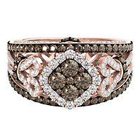 Helzberg Limited Edition® 1 3/4 ct. tw. Sparkling Champagne® & White Diamond Ring in 14K Rose Gold