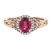 Rubellite & 1/7 ct. tw. Diamond Ring in 14K Rose Gold