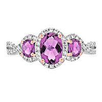 Royal Purple Sapphire™ & 1/4 ct. tw. Diamond Three-Stone Ring in 10K White & Rose Gold
