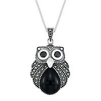 Black Agate & Marcasite Owl Pendant in Sterling Silver