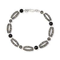 Black Agate & Marcasite Link Bracelet in Sterling Silver