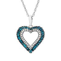 1/3 ct. tw. Blue & White Diamond Heart Pendant in 10K White Gold