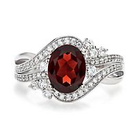 Garnet & Lab-Created White Sapphire Ring in Sterling Silver