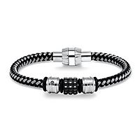Triton Men's Black Diamond Woven Bracelet in Stainless Steel
