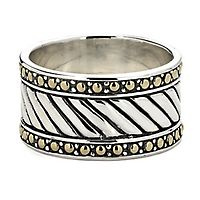 Samuel B. Men's Imperial Band in Sterling Silver & 18K Yellow Gold, 13MM