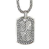 Samuel B. Men's Imperial Criss Cross Pendant in Sterling Silver