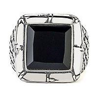 Samuel B. Men's Imperial Onyx Woven Ring in Sterling Silver