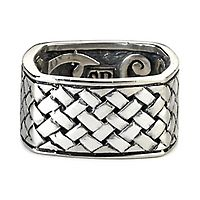 Samuel B. Men's Imperial Woven Square Ring in Sterling Silver, 10.5MM