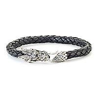 Samuel B. Men's Imperial Woven Dragon Bracelet in Leather, Sterling Silver & 14K Yellow Gold