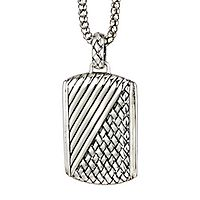 Samuel B. Men's Imperial Woven Dog Tag Pendant in Sterling Silver